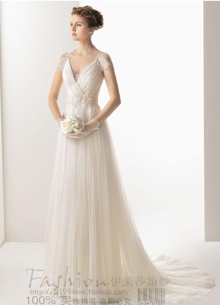 1efe7dec915 free shipping 2016 elegant V-neck white long princess sweetheat lace short  sleeve empire waist beach wedding dresses bridal gown