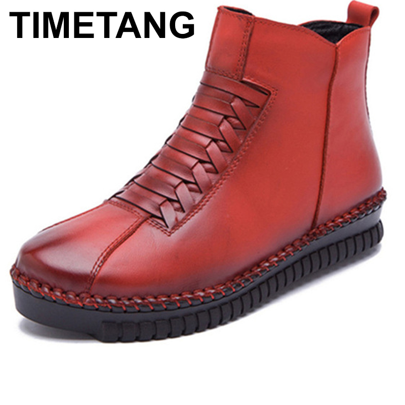 TIMETANG Handmade Genuine Leather Women Boots Solid Zip Ankle Boots Woman Autumn Winter Women Cow Leather Shoes Casual Snow timetang 2017 new autumn winter women shoes woman genuine leather wedges snow boots height increasing ankle women boots size