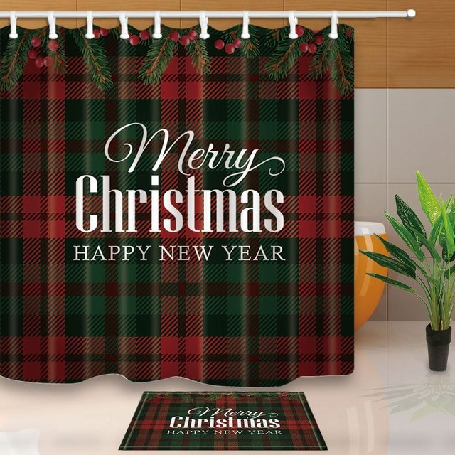 Christmas Tree Branches Bath Decor Text Merry Print On Tartan Waterproof Polyester Fabric Shower Curtain