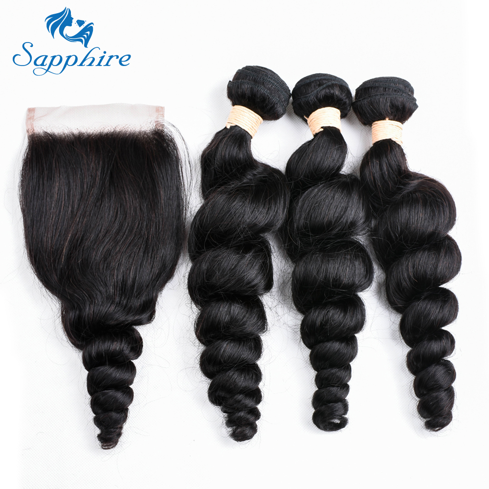 Sapphire Loose Wave Bundles With Closure 3 Bundles Brazilian Hair Weave Bundles Loose Wave Human Hair Bundles With Closure 4 Pcs