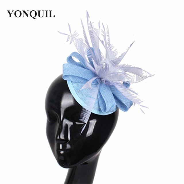 NEW ARRIVAL imitation sinamay Fascinator for Women Wedding hair accessories  Feather Hair top Hat light blue Cocktail Party hat db16fc5be3c