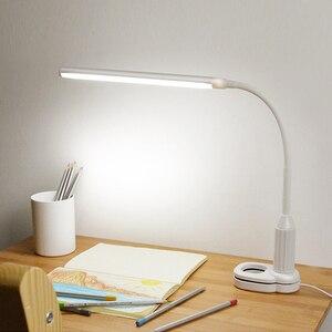 Image 1 - LED מגע על/כיבוי קליפ שולחן הגנה על העין מנורת מחקר מנורת שולחן מהדק משרד נטענת ניתן לעמעום USB Led שולחן מנורת Led