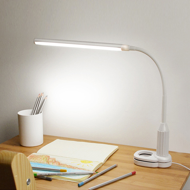 LED מגע על/כיבוי קליפ שולחן הגנה על העין מנורת מחקר מנורת שולחן מהדק משרד נטענת ניתן לעמעום USB Led שולחן מנורת Led