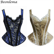 62d3c307a Beonlema Mulheres Overbust Corpetes Top Sexy Corset Para O Punk Rave Party  Lace Lingerie Azul Steampunk