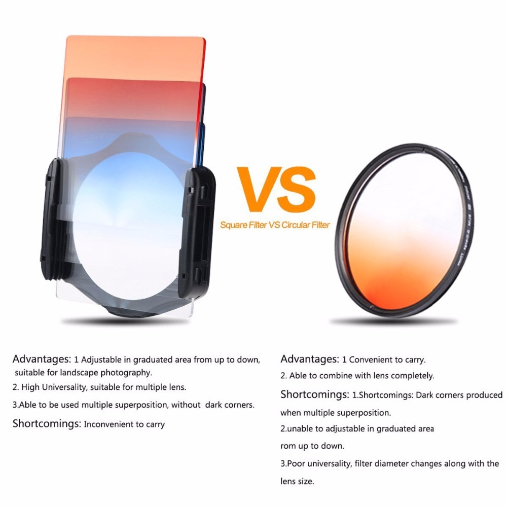 DSLR Camera Square Lens Filters Kit 10 in1 Full ND Graduated Blue Yellow Grey Orange with Holder Ring Adapter for photography 2