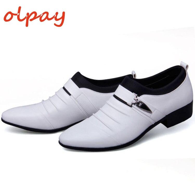 OLPAY/модные белые кожаные мужские модельные туфли без шнуровки с острым носком, деловые свадебные туфли-оксфорды, официальная обувь для мужч...