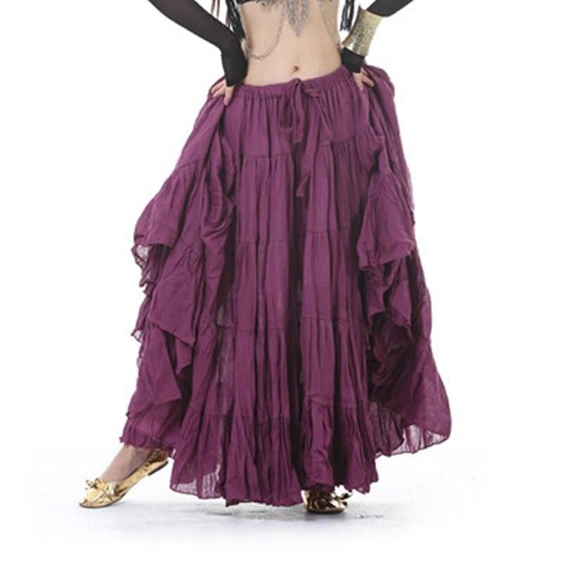 2019 Printemps Eté décontracté Gitane Bohème BOHO Rouge Noir Coton et Lin Danse Espagne Femelle Plissée Maxi Jupes pour les Femmes