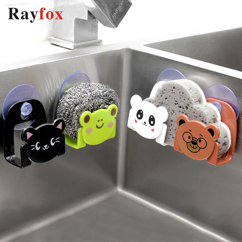 Lovely Kitchen Accessories Organizer Tools Cartoon Sponge Rag Storage Rack Home Decoration Kitchen Supplies Gadget Goods