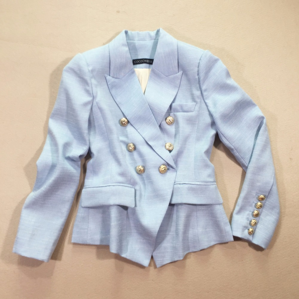 New 2017 autumn fashion women double breasted slim blazer gold color buttons solid color blazers outerwear blue
