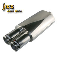 JZZ COZMA 2.5 INLETUniversal Exhaust car styling Double outlet Akrapovic Car silencer exhaust racing muffler With Exhaust Pipes