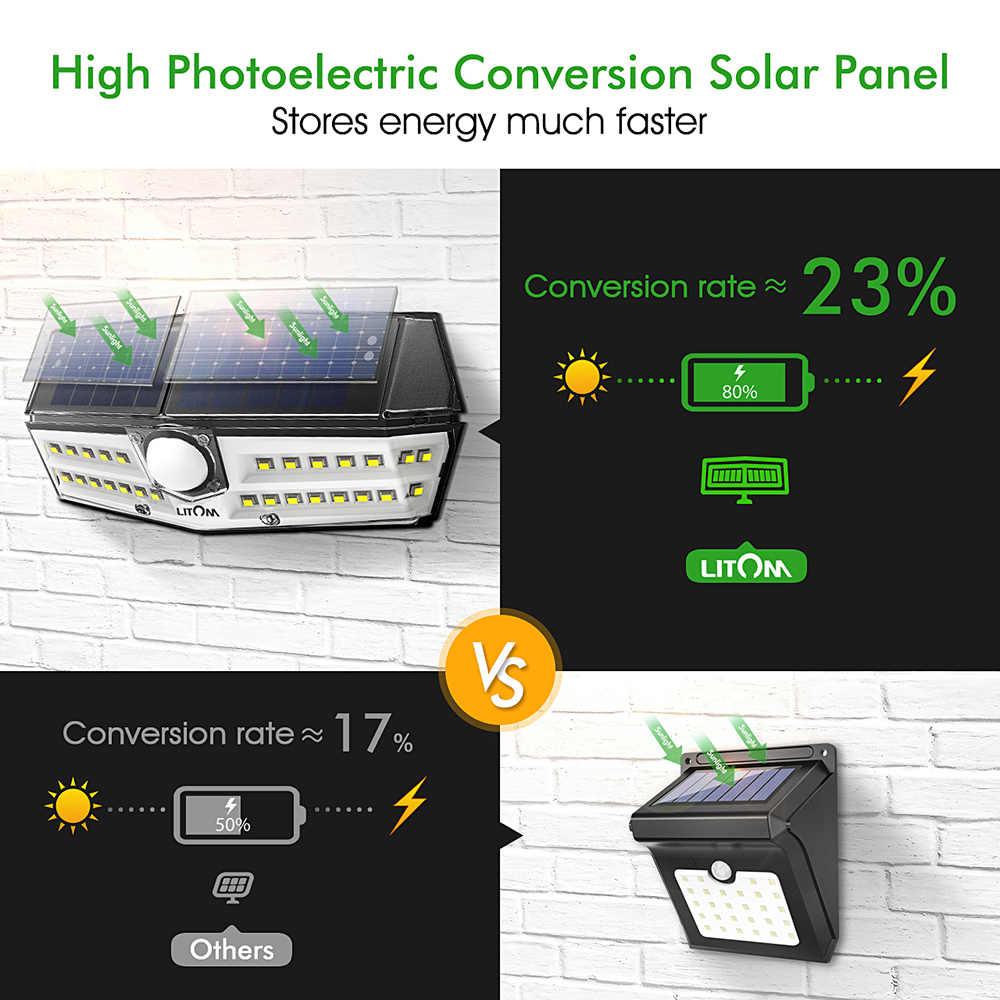 Litom 30 светодиодный солнечный свет наружное освещение IP67 Водонепроницаемый Солнечный сад путь лампа для веранды Супер яркие лампы на солнечных батареях с движения Сенсор