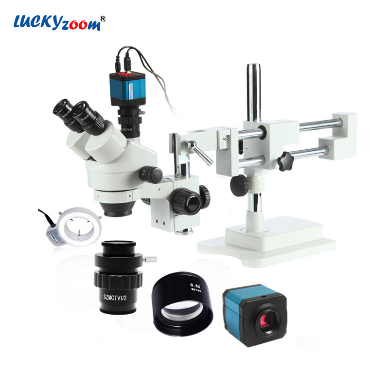 Lucky Zoom 3.5X-45X Trinocular Stereo Microscope For Phone Repair Double Boom Stand Microscope For Soldering 14MP HDMI Camera lucky zoom brand 3 5x 90x stereo trinocular microscope large stand microscope for soldering pcb inspection mobile phone repair