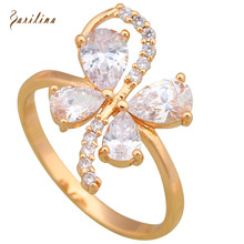 New Hot jewellery White Cubic Zirconia rings for girls Yellow Gold Ring size 9 10 R591(China)