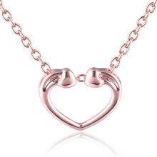 Wholesale Love Heart Shape 18K Gold Necklaces Pendants For Women 2018 New Fashion Elegant Ladies AU750 Jewelry Gift