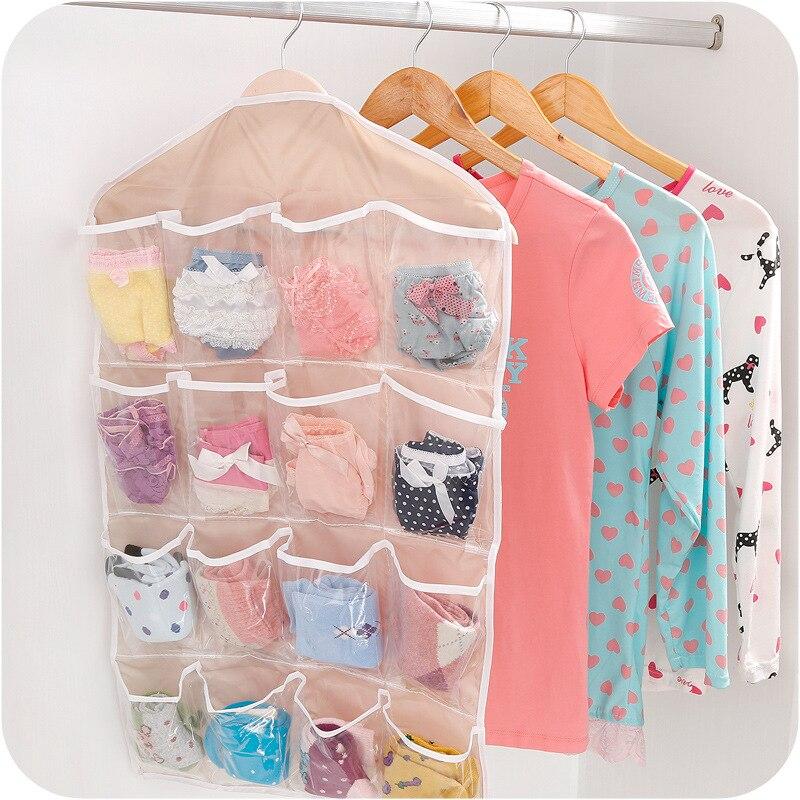 Image 2 - 2019 Organizer Foldable 16 grid Storage Bag Hanging Bag Underwear Panties Socks Hanging Organizador Consolidation Home Supplies-in Hanging Organizers from Home & Garden