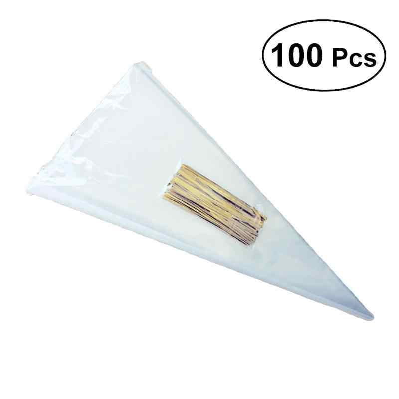 100pcs/lot DIY Wedding Birthday Party Sweet Cellophane Clear Candy Cone Storage Bags Cheap Organza Pouches Decoration
