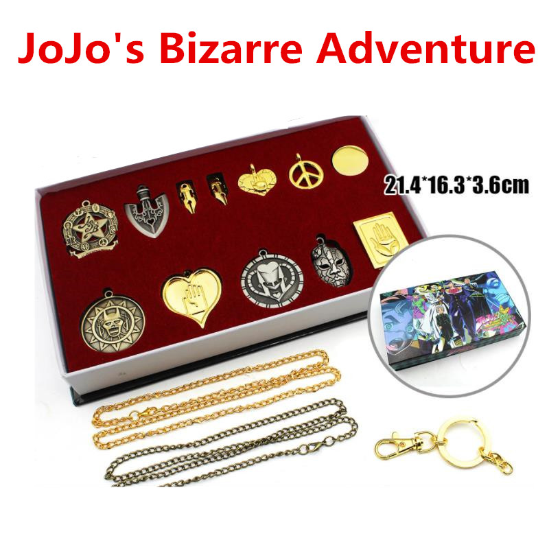 Anime JoJo's Bizarre Adventure Kujo Jotaro Badge Brooch Pins Earring Necklace+Keychain+Box Pendant Key Ring Collection Suit Gift
