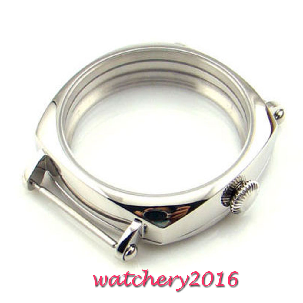 44mm parnis 316L stainless steel Watch CASE fit eta 6498 6497 ST3600 Movement