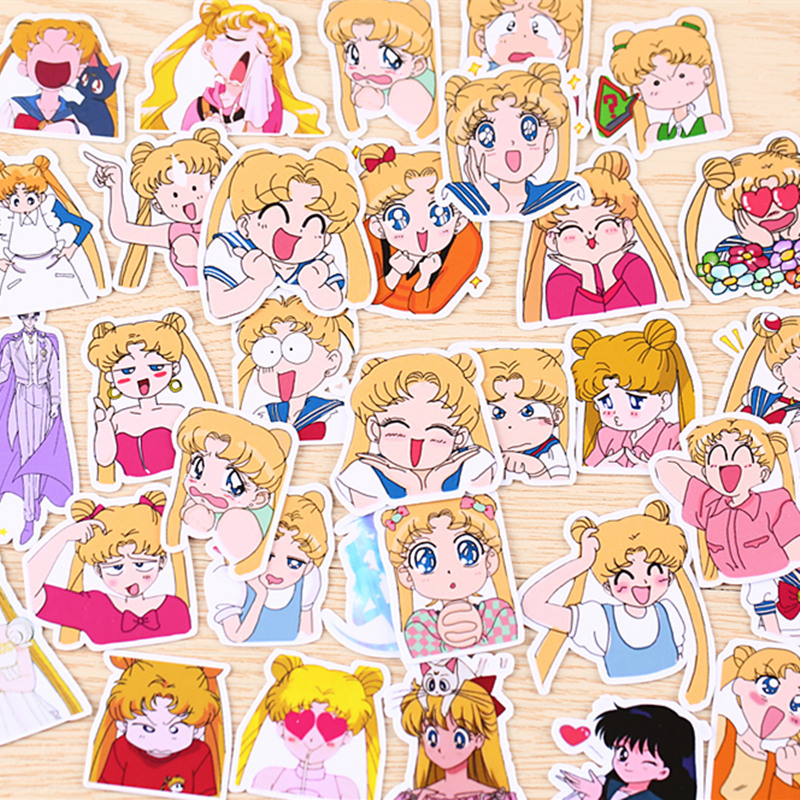 Lychee Life 75pcs Japanese Anime Sailor Moon Stickers Kawaii Cartoon Waterproof Decals Diy Scrapbooking Album Cards Decoration Parts & Accessories