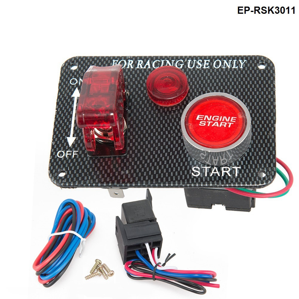 8 Hole Real Carbon Fiber Panel w// 8 LED Toggle Switches and Covers Green /& Red