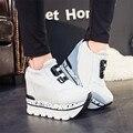 Супер Высокая Увеличение Внутреннего Женщины Повседневная Обувь Высокого Качества Холст Обувь Из Замши Плоские Туфли На Платформе Круглый Toe Slip-на D110 35