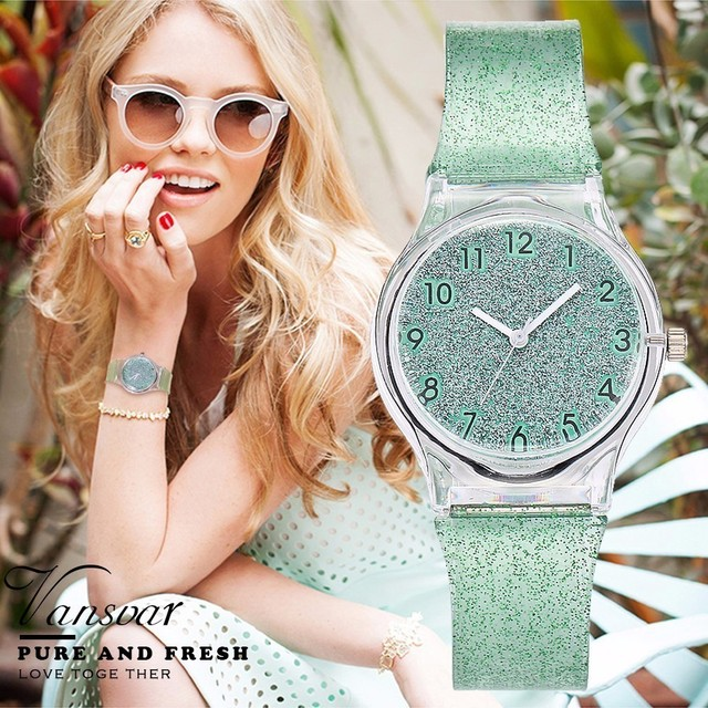 Vansvar Fashion Jelly Silicone Transparent Plastic Women Watches Lovely Cute Uni