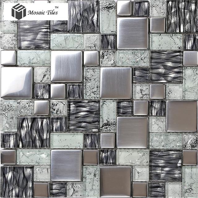 Piastrella Mosaico in vetro Argento Colore Superficie Satinata ...