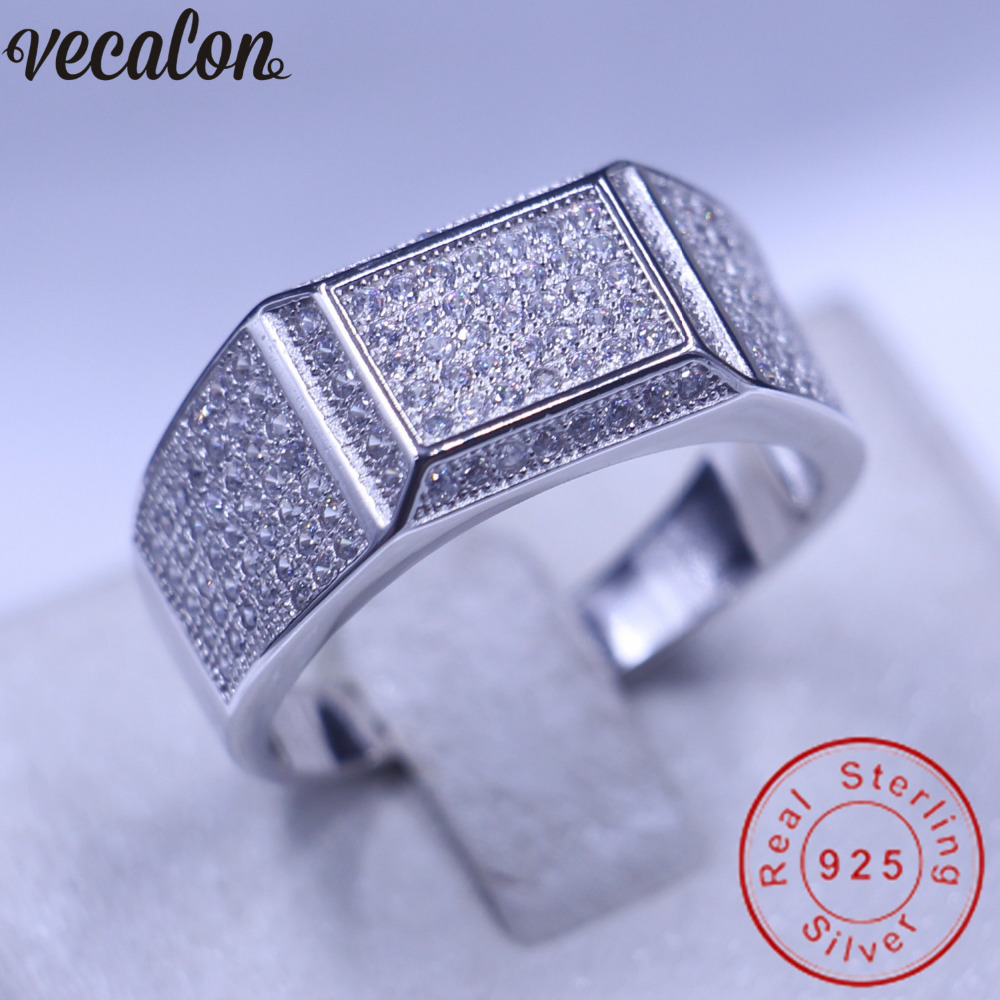 Vecalon Jewelry Wedding Band Ring For Men Pave Set 150pcs Diamonique Cz 925  Sterling Silver Male