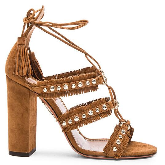 Women Fashion Sandals Lace-Up Sexy Cross-tied High Quality Cow Suede Summer Super High Square Heels Wholesale Ladies Shoes