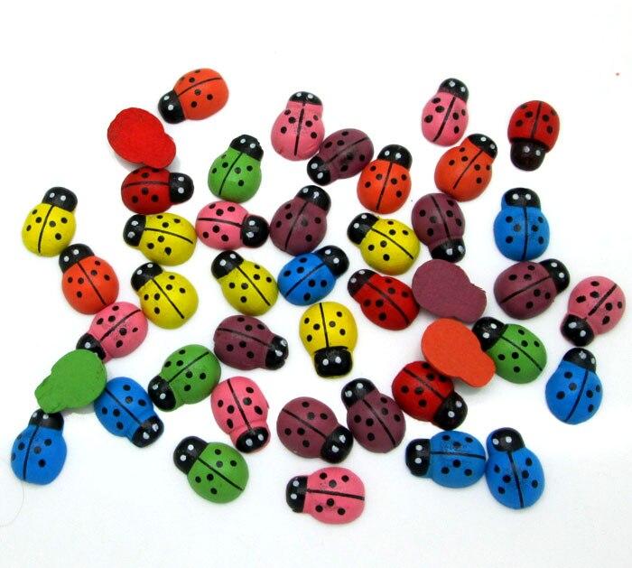 100Pcs Mixed Coloful Wood Beetles Decoration Crafts Flatback Beads Cabochon Scrapbook DIY Embellishments Accessories Buttons