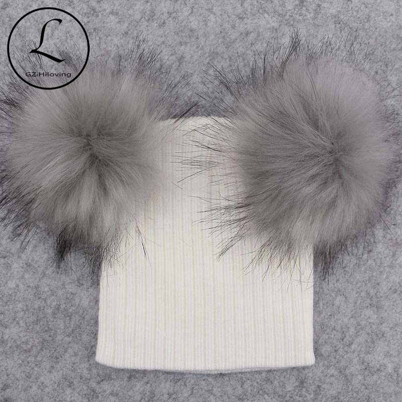 12588717201 GZHilovingL Fashion Baby Boys Girls Knitted Beanies With Double Fur pompom  Winter Soft Cotton Striped Hats Skullies Cap For Kids