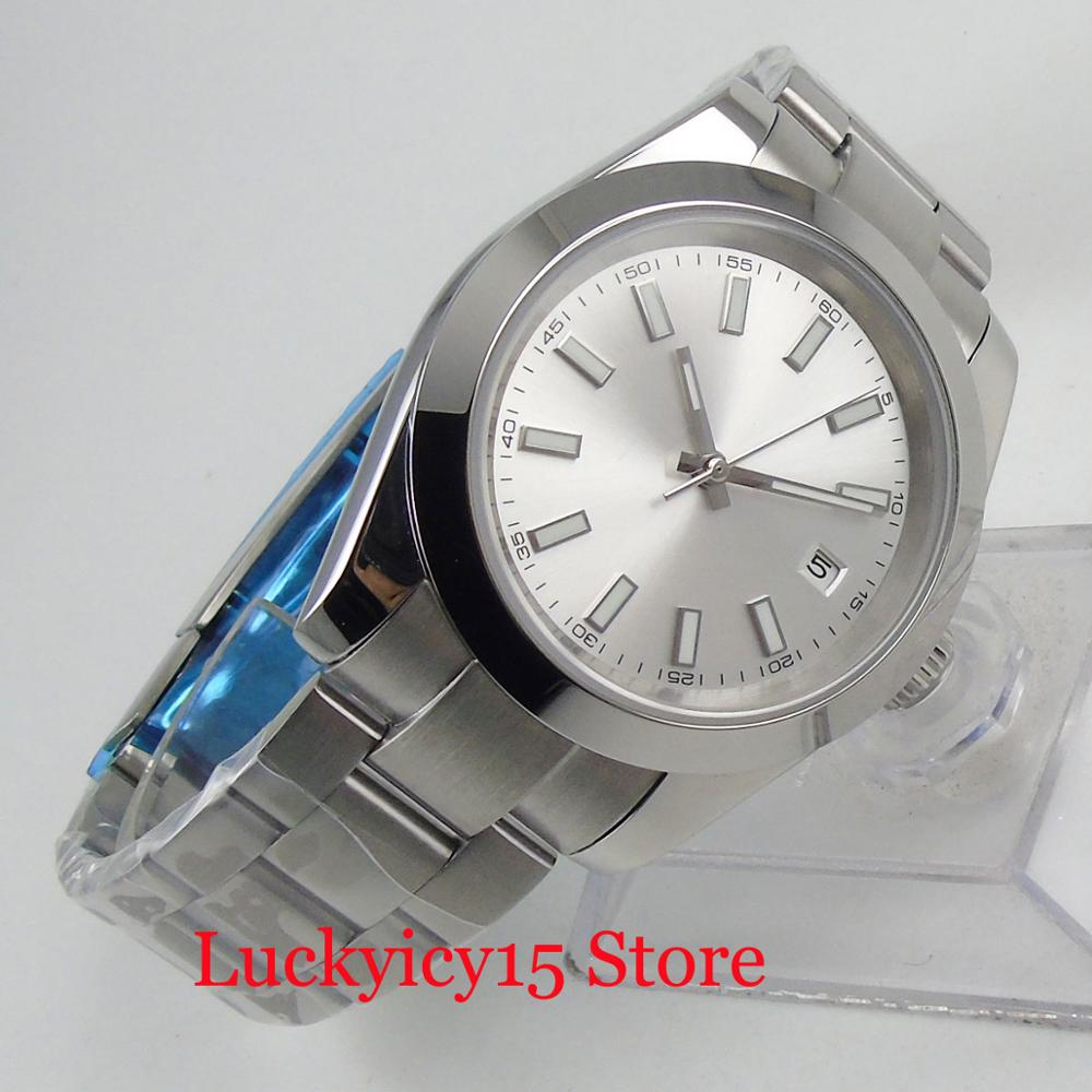 Fashion Luxury Polished Mechancial Men's Watch With Date Window Mental Strap Sapphire Glass 40mm