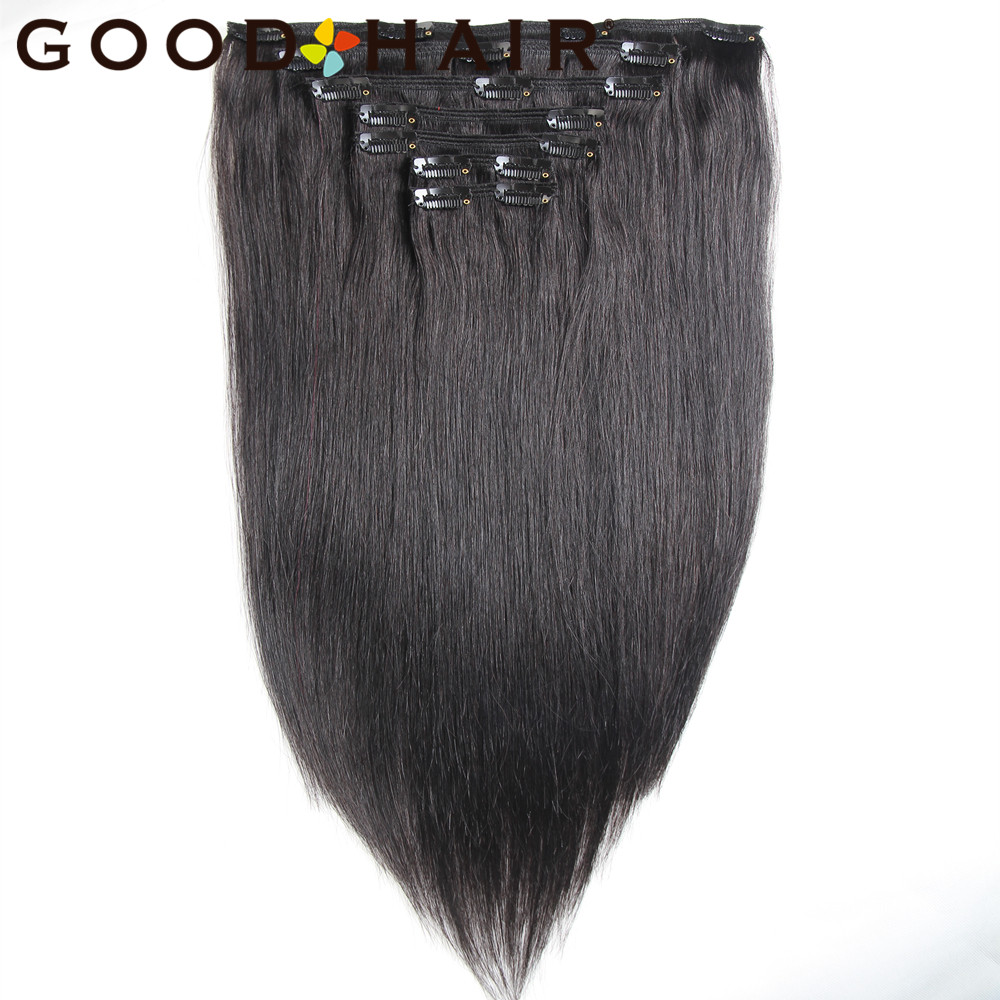 "Straight Non-remy Hair Brazilian Hair Natural Black 18"" 22"" Clip In Hair 7pcs/set 100% Human Hair Extensions 5 Colors Available"