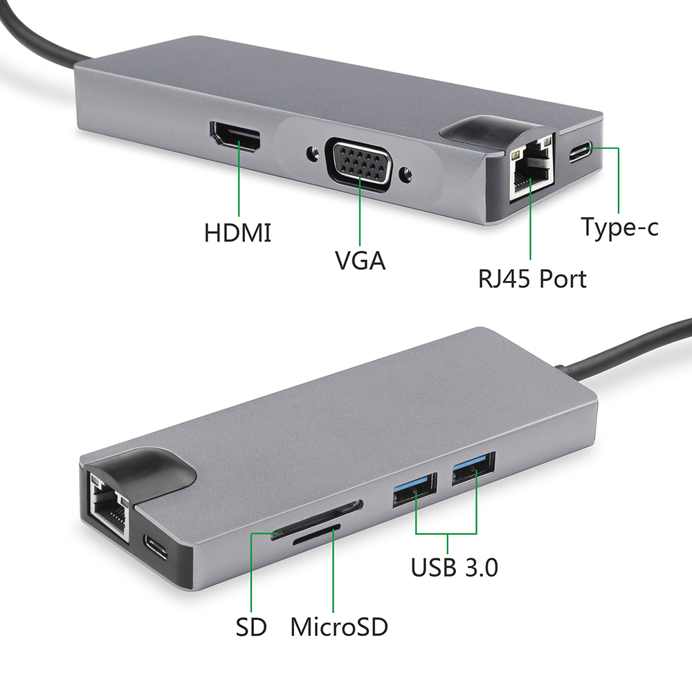 USB C Hub To 2 USB 3.0 Splitter With SD/TF Slot Type-C Charging Port+HDMI VGA Lan RJ45 Gigabit Ethernet Adapter for Macbook Pro usb c hub hdmi vga ethernet lan rj45 adapter for macbook pro goojodoq type c hub card reader 2 usb 3 0 type c charging port