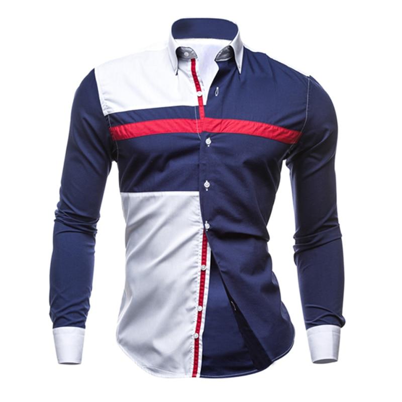 Men Long Sleeve Shirt 2018 Male Striped Shirts Slim Fit Camisa Social Masculina Male Casual Social Shirt Camisa Masculina XXL 25