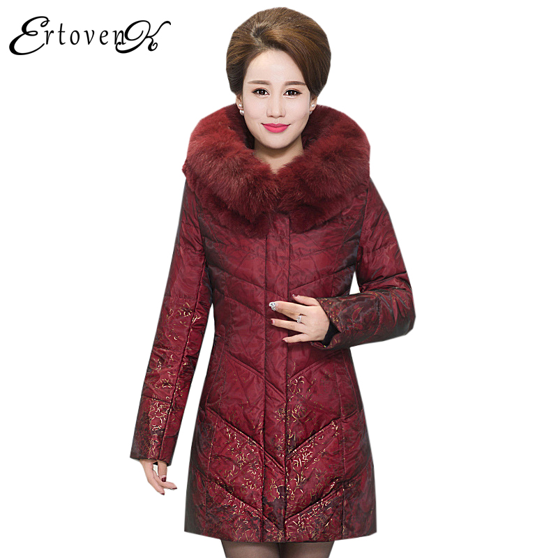 Large Fur Collar Coats Women Plus Size Cotton Jacket Winter 2017New Thicker Middle-aged Clothing Outerwear casaco femininoLH087
