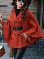 Women Poncho Coat Turndown Collar Double Breasted Contrast Belt Woolen Cape Coat