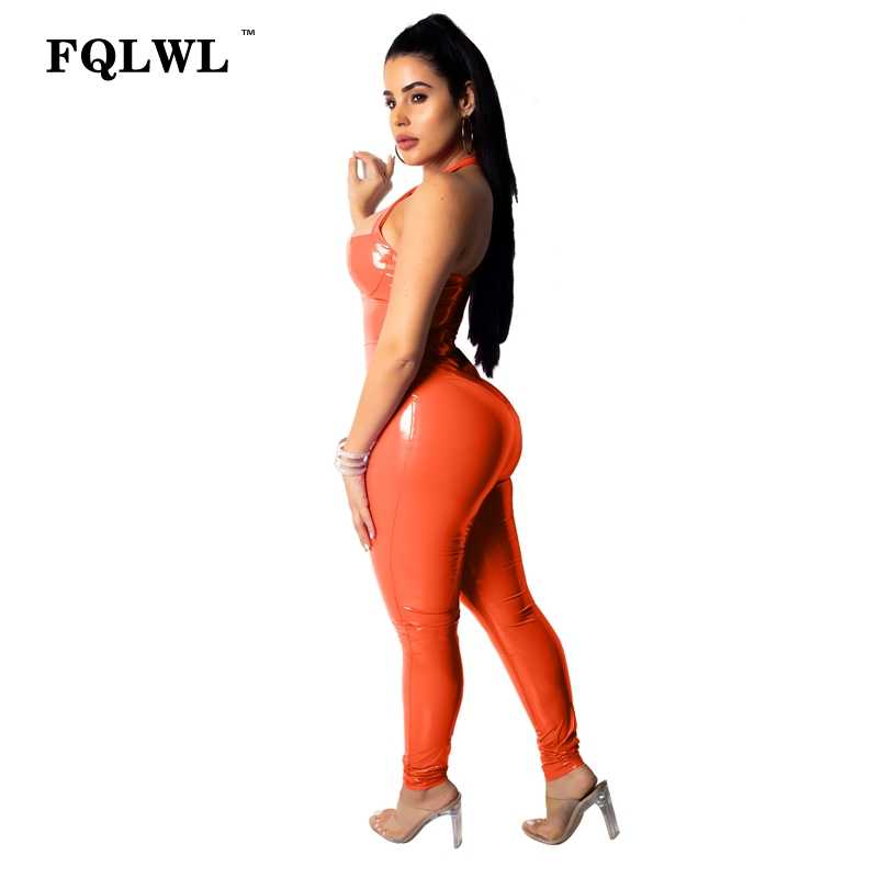 7a28db2c47a ... FQLWL Faux Pu Leather Jumpsuit For Women Romper Backless Bandage Pink  Bodycon Skinny Sexy Jumpsuit Female ...