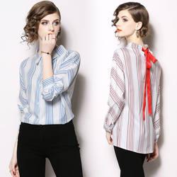2018 качество модельер галстук-бабочка до блузка длинные рукава белую полоску женщин топ рубашки с бантом сзади для подиума