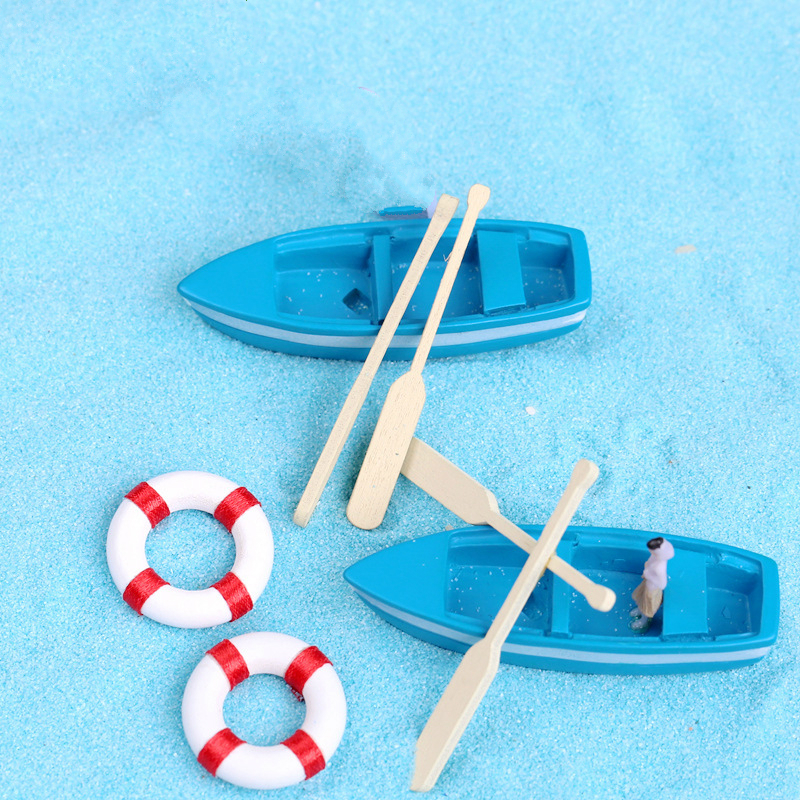 1 anchor+1 Life buoy+1 Blue boat+2 wood pulp House accessories, interesting DIY game Mini