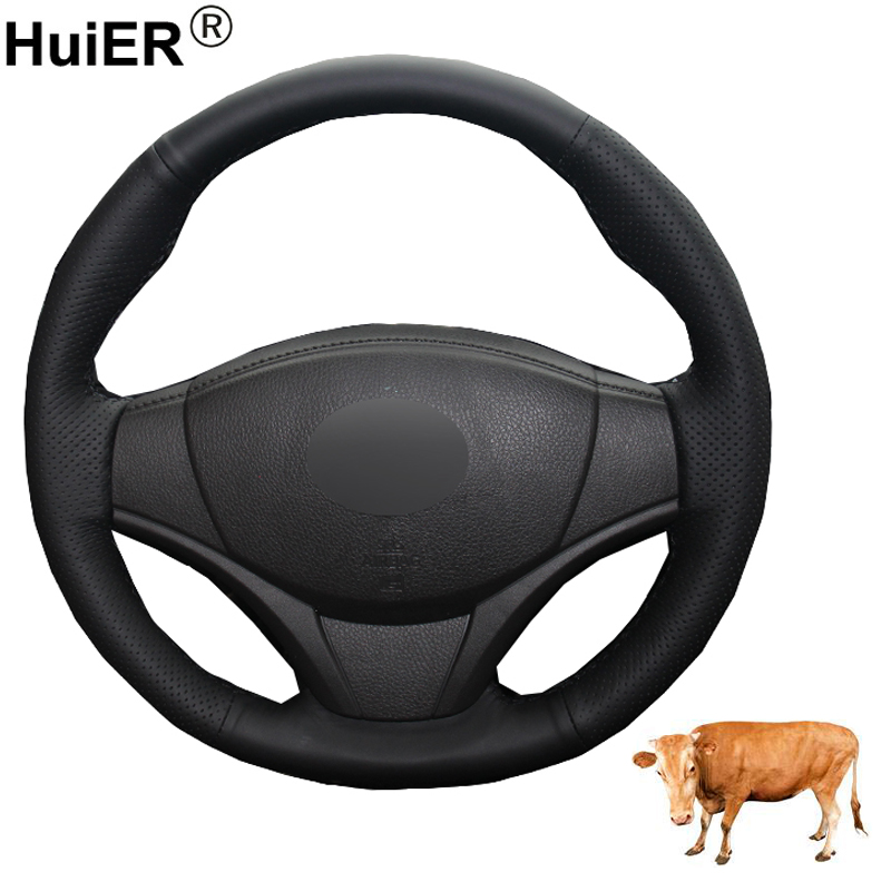 Hand Sewing Car Steering Wheel Cover Top Layer Leather Braid on the Steering wheel For Toyota Vios 2014 2015 2016 Funda Volante(China)