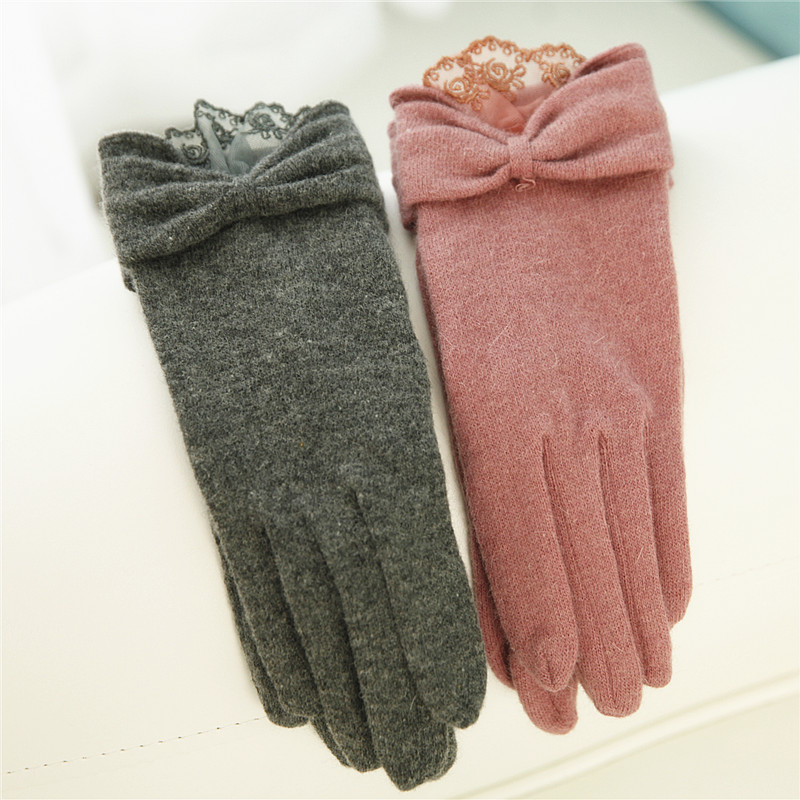 2018 Winter Women Knitted Wool Gloves Single Layer Wrist Lace Elegant Bowknot Five Fingers Thermal Lady Glove T117