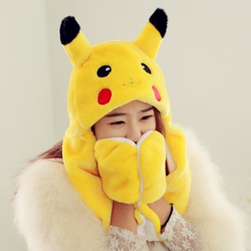 Cute Cartoon Plush Animal Pikachu Pokemon Go Fuzzy Beanie Hat Winter Women Mens Children Kids Girls Costume Warm Cosplay