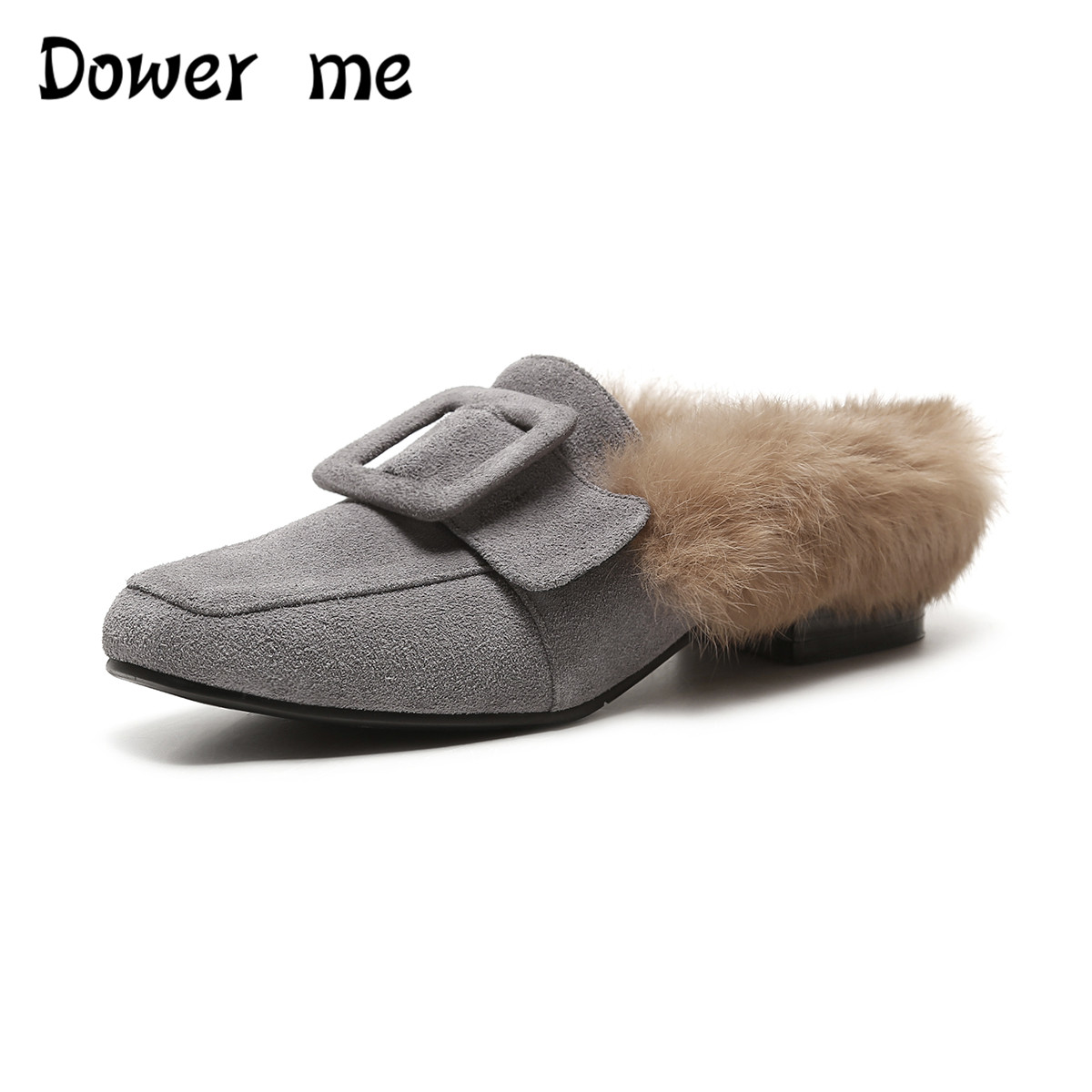 Dower me Women flat mules shoes pointed toe slides sandals big size 2017 summer genuine leather with fur pearls slip on shoes meotina brand design mules shoes 2017 women flats spring summer pointed toe kid suede flat shoes ladies slides black size 34 39