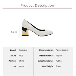SOPHITINA Brand Lady Pump Handmade Patent Leather Thick Heel Round Toe Colorful heel Party Career Fashion Mature Shoes Women W09 5