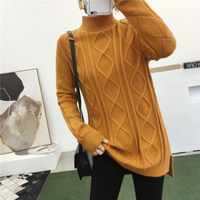 2019 Hot Sweater Women Chinese Style Knitted O-neck Side Cut Pullovers Stretchable Winter Clothes