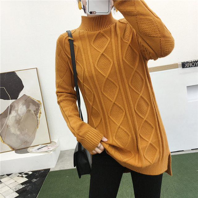 2019 Hot Sweater Women Chinese Style Knitted O-neck Side Cut Pullovers Stretchable Winter Clothes Women