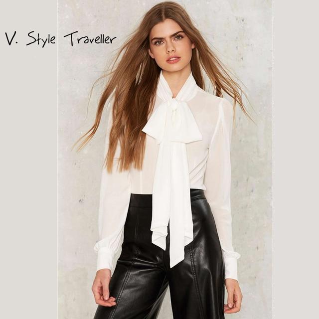 fcdf657137 D de Alta Moda Camisa Branca Mulheres Gravata borboleta Blusa Sexy blusa  Boho Casual Roupas Baratas