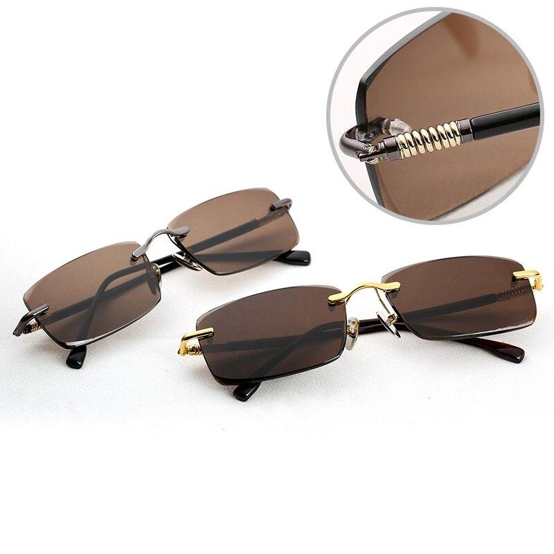 Vazrobe verre lunettes de soleil hommes marron lunettes de soleil pour homme Anti oeil sec cristal naturel lentille printemps charnière UV400 sans monture lunettes