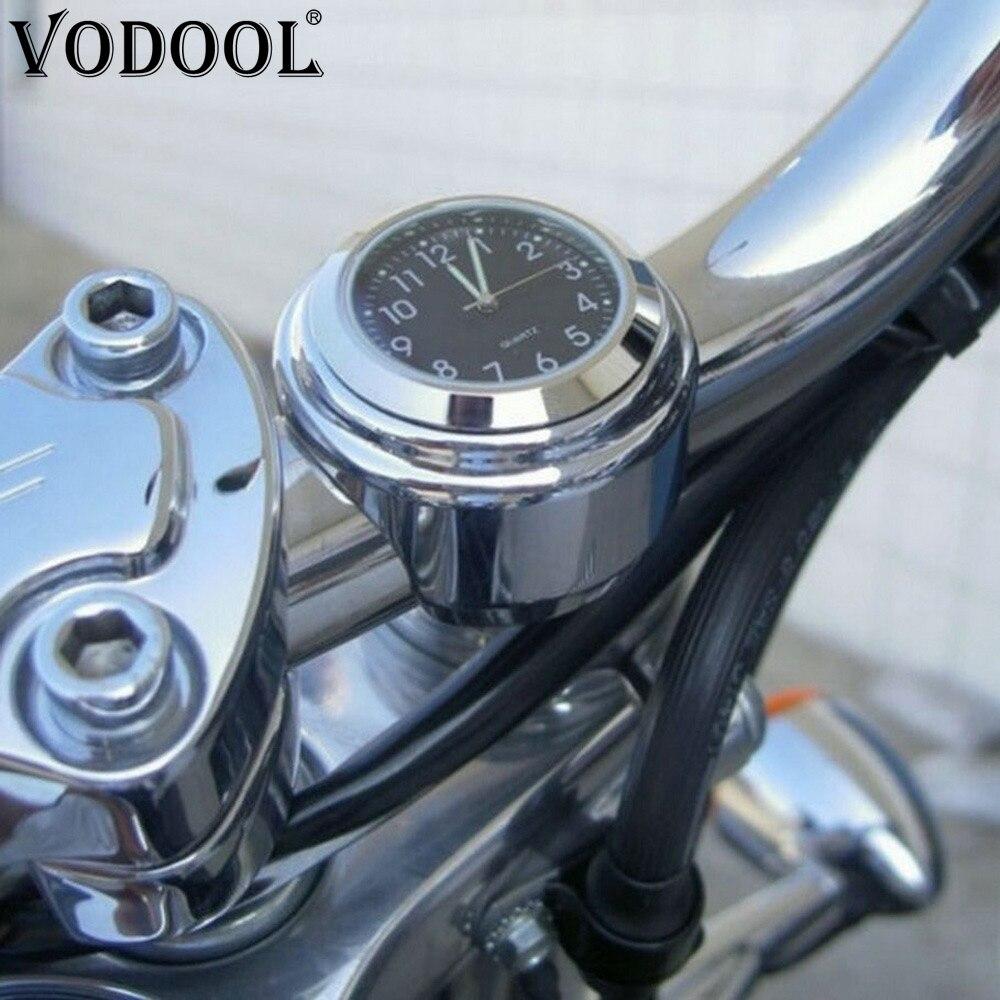 "7//8/""// 1/"" Universal Handlebar Chrome Motorcycle//Bike Dial Clock Honda Waterproof"